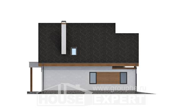 120-005-R Two Story House Plans and mansard with garage in front, inexpensive Blueprints of House Plans