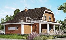 160-006-R Two Story House Plans with mansard with garage under, small Building Plan