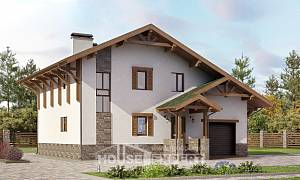 190-007-R Two Story House Plans and mansard with garage in front, modern House Blueprints