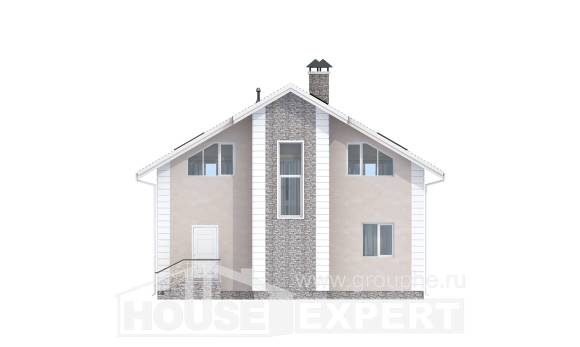 150-002-R Two Story House Plans with mansard with garage in front, the budget Architect Plans
