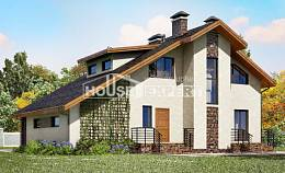 180-008-R Two Story House Plans and mansard and garage, beautiful Blueprints