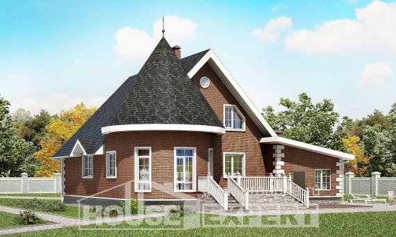 220-002-L Two Story House Plans and mansard with garage in front, a simple Design Blueprints