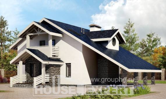 155-010-R Two Story House Plans with mansard with garage, classic Floor Plan