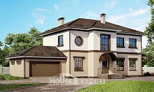290-004-L Two Story House Plans with garage in back, classic Online Floor