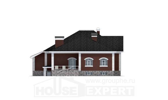 600-001-R Three Story House Plans with mansard with garage under, best house Villa Plan