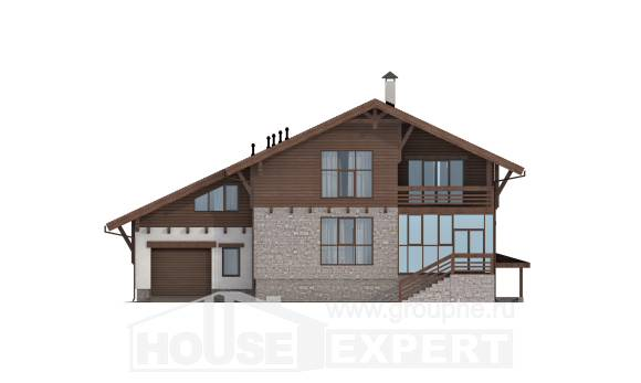 420-001-R Three Story House Plans with mansard with garage in front, spacious Building Plan