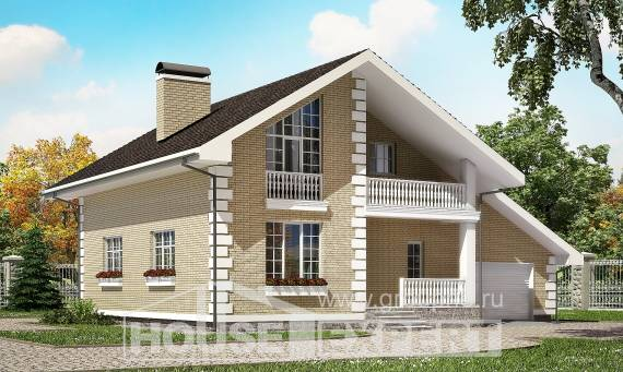 190-005-R Two Story House Plans with mansard with garage in front, modern Custom Home
