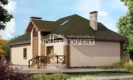 180-010-R Two Story House Plans with mansard and garage, classic Floor Plan