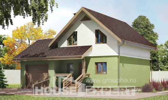 120-002-R Two Story House Plans with mansard and garage, the budget Home House