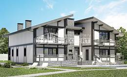 280-002-R Two Story House Plans with mansard, big Blueprints of House Plans