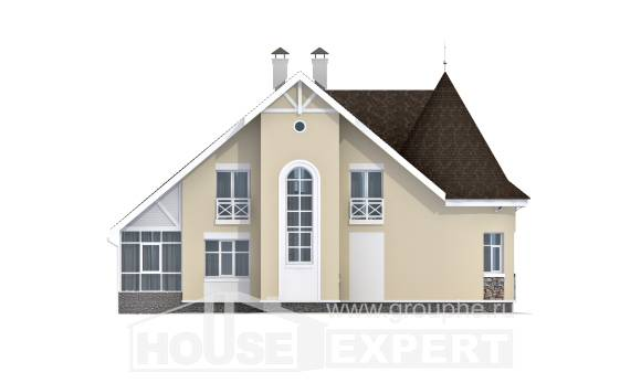 275-001-L Two Story House Plans and mansard with garage in front, spacious Design House