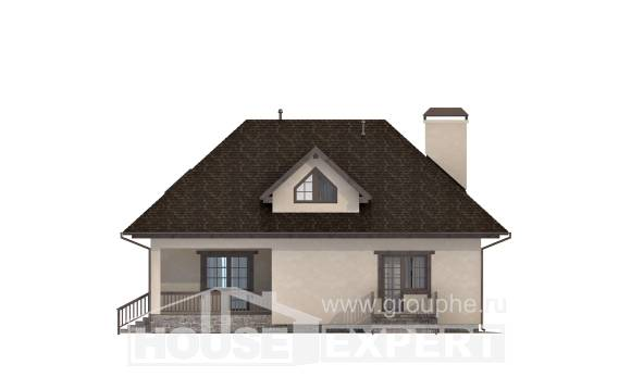200-001-L Two Story House Plans with mansard roof and garage, a simple Construction Plans