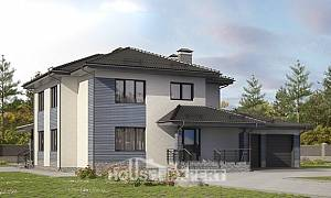 340-005-R Two Story House Plans with garage, luxury Tiny House Plans