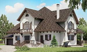 350-001-L Two Story House Plans with mansard roof with garage in front, big Construction Plans