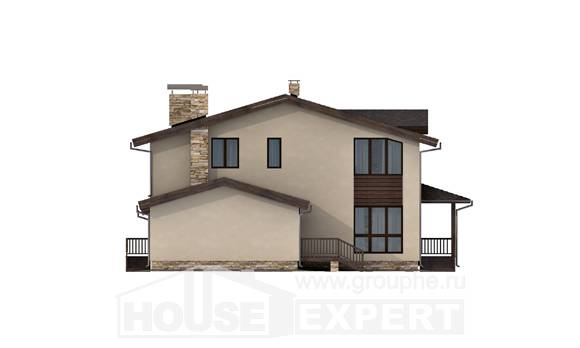 220-001-L Two Story House Plans and mansard with garage under, luxury Villa Plan