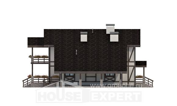 250-002-L Two Story House Plans and mansard with garage in front, modern Online Floor