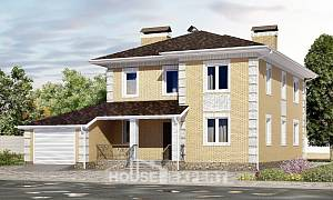 220-006-L Two Story House Plans with garage in back, classic Drawing House