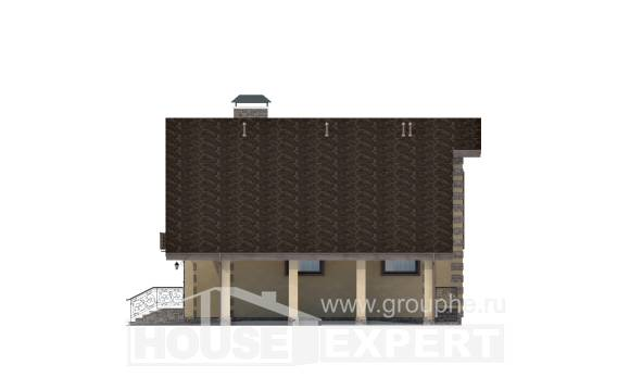 150-003-R Two Story House Plans with garage under, compact Building Plan