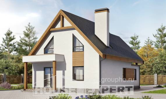 120-005-R Two Story House Plans and mansard with garage under, small Dream Plan