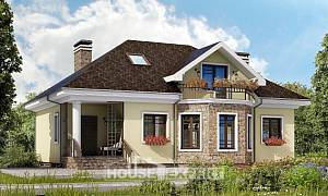 150-008-L Two Story House Plans with mansard, compact Home House