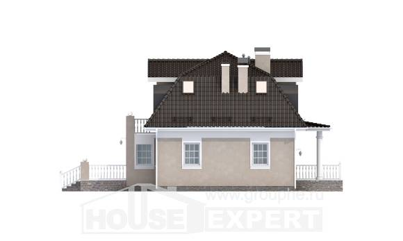 210-001-L Two Story House Plans with mansard, luxury Tiny House Plans