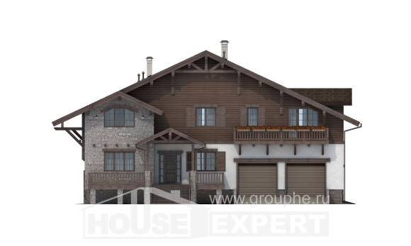 440-001-R Three Story House Plans and mansard and garage, big House Blueprints