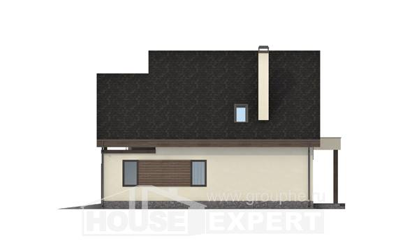 120-005-L Two Story House Plans with mansard roof with garage in front, economical Cottages Plans