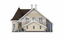 275-001-L Two Story House Plans with mansard roof with garage in front, big Building Plan