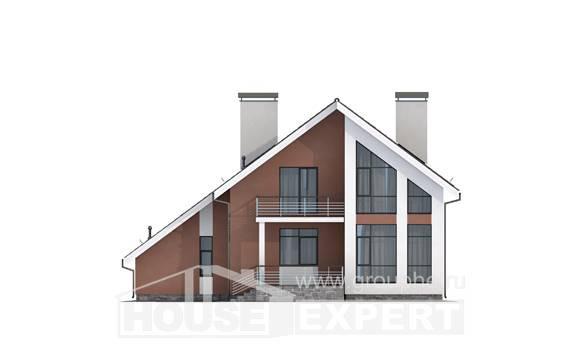 200-007-R Two Story House Plans and mansard with garage in back, luxury Cottages Plans
