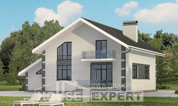 180-001-R Two Story House Plans and mansard and garage, modest Design Blueprints