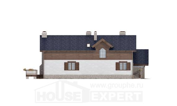 240-002-L Two Story House Plans and mansard with garage under, classic Building Plan