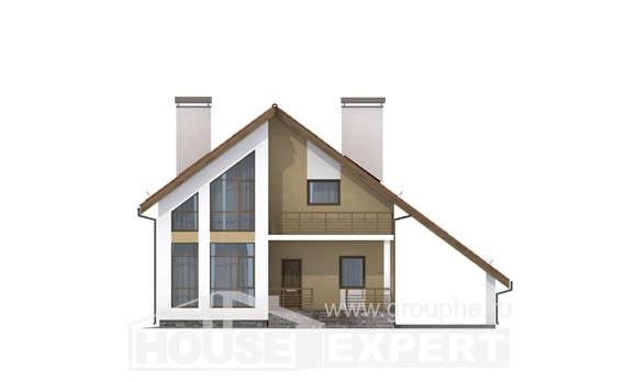 170-009-R Two Story House Plans and mansard with garage under, beautiful House Blueprints