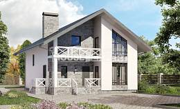 155-001-L Two Story House Plans and mansard and garage, inexpensive Villa Plan