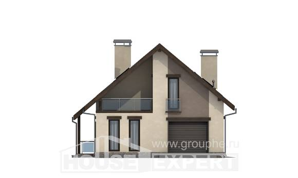185-005-L Two Story House Plans with mansard and garage, luxury Cottages Plans