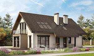 185-005-L Two Story House Plans with mansard roof with garage under, cozy House Plan