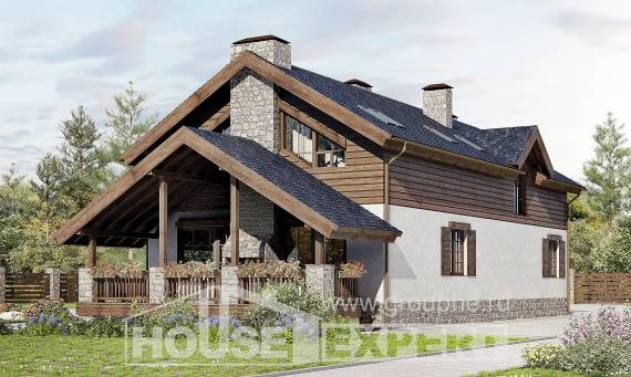 280-003-L Two Story House Plans and mansard with garage in front, cozy Custom Home