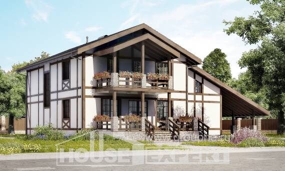 250-002-L Two Story House Plans with mansard roof with garage in front, modern Ranch