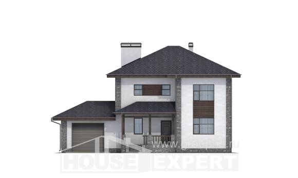 185-004-L Two Story House Plans with garage in back, classic Design Blueprints