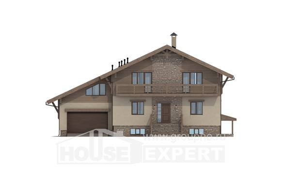 420-001-L Three Story House Plans with mansard roof with garage in back, classic Drawing House