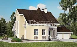 275-001-L Two Story House Plans with mansard and garage, modern Models Plans