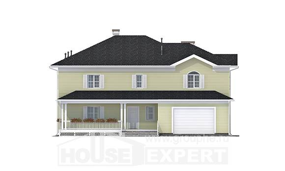 410-002-L Two Story House Plans and garage, classic Custom Home Plans Online