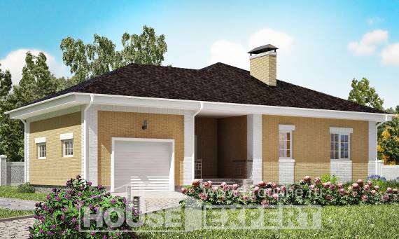 130-002-L One Story House Plans with garage in front, inexpensive Design Blueprints