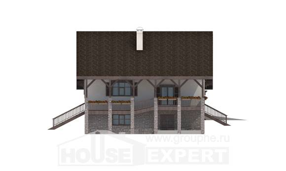 300-003-R Three Story House Plans and mansard with garage in back, classic House Online