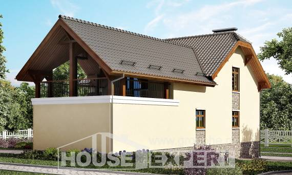 255-003-R Two Story House Plans with mansard with garage in back, cozy Villa Plan