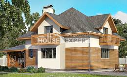 155-004-R Two Story House Plans with mansard with garage in back, inexpensive Architectural Plans