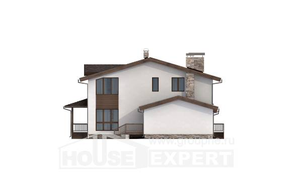 220-001-R Two Story House Plans with mansard roof with garage, beautiful Building Plan
