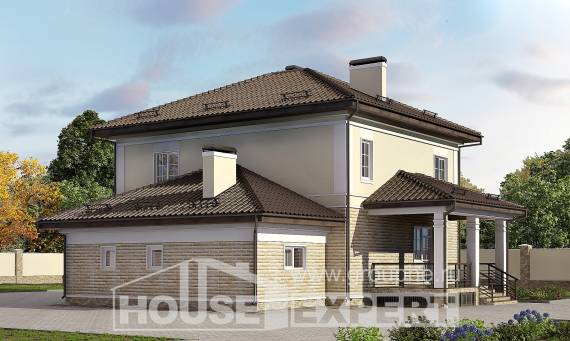 220-007-R Two Story House Plans with garage in front, classic Building Plan