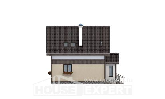 105-001-R Two Story House Plans with mansard, small Custom Home