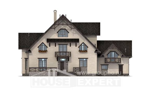 435-002-R Three Story House Plans with mansard roof with garage under, luxury Custom Home Plans Online
