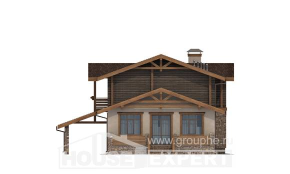170-004-R Two Story House Plans with mansard with garage under, inexpensive Plans Free